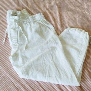J.Crew White Linen Drawstring Cropped Pants. Sz. 6